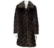 Dennis Basso Diagonal Pelted Faux Mink Fur Coat w/Hook Closures - A229289