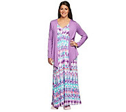 Carole Hochman Abstract Ikat Knit Jersey Gown and Jacket Set - A230089