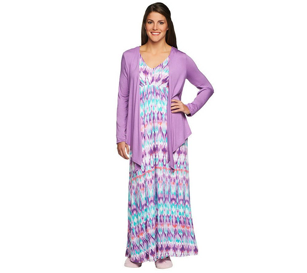 Carole Hochman Abstract Ikat Knit Jersey Gown and Jacket Set - Page ...