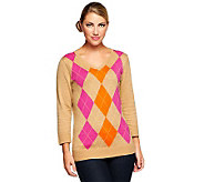 Denim & Co. 3/4 Sleeve V-neck Argyle Sweater - A235189