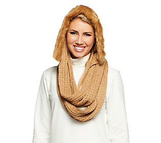 Product image of Dennis Basso Knit Hooded Infinity Scarf w/ Faux Fur