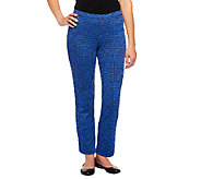 Isaac Mizrahi Live! Houndstooth Ponte Knit Pull-On Pants - A237889
