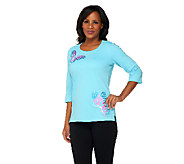 Quacker Factory Butterfly Away 3/4 Sleeve T-shirt - A239789