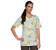 Denim & Co. Active Short Sleeve Floral Print Pull-over - A252689