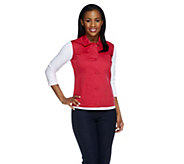 Dennis Basso Stretch Cotton Button Front Multi-seam Vest - A254289
