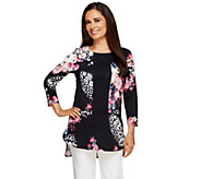 Attitudes by Renee Printed Hi-Low Hem Tunic w/ Solid Insert - A255789
