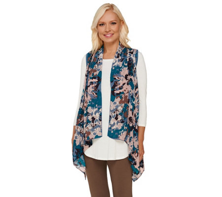 logo by lori goldstein open front knit vest with printed chiffon qvc com