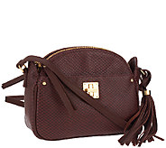 As Is Isaac Mizrahi Live! Bridgehampton Leather Snake Crossbody - A267089