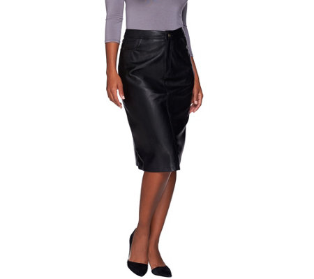 denim co mid length faux leather boot skirt qvc