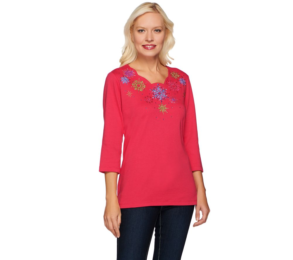Quacker Factory Scalloped Snowflake Embroidered 3 4 Sleeve