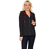 Susan Graver Weekend Polka Dot Printed French Terry Hooded Jacket - A273489