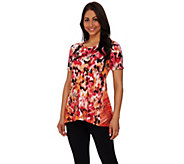 LOGO Lounge by Lori Goldstein French Terry Multi-Color Printed Top - A274089