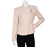 As Is Mark of Style by Mark Zunino Linen Jacket with Faux Leather - A277389