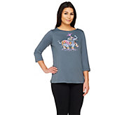 As Is Bob Mackies Printed Elephant T-Shirt - A277889