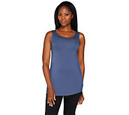 LOGO Layers by Lori Goldstein Knit Tank with Lace Trim - A282789