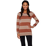 As Is LOGO by Lori Goldstein Cotton Cashmere Striped Sweater with Chiffon - A283589