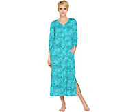 Stan Herman Watercolor Lattice Jersey Zip-Up Caftan - A286889
