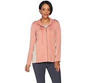 LOGO Lounge by Lori Goldstein Zipper Hoodie w/ Embroidered Mesh Details - A286989