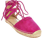 As Is Marc Fisher Leather Lace-up Espadrilles - Misses - A288289