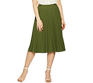 Linea by Louis DellOlio Faux de Chine Pleated Pull-On Skirt - A288389