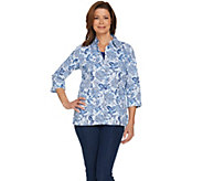 Denim & Co. Floral Printed Crinkle Top and Knit Tank Set - A290189