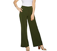Susan Graver Regular Liquid Knit Wide Leg Pants with Back Slits - A290789