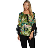 Bob Mackies Floral Print Bell Sleeve Tie Front Tunic - A292289