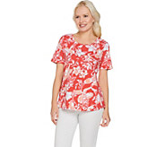 Denim & Co. Printed Scoop Neck Short Sleeve Top w/ Curved Hem - A292489