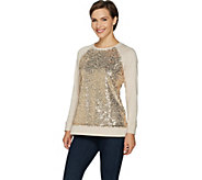 Isaac Mizrahi Live! Sequin Panel French Terry Sweatshirt - A296789