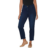 Belle by Kim Gravel Flexibelle Frayed Edge Ankle Jeans - A301589