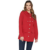 Denim & Co. Stretch Twill Button Front Long Sleeve Hooded Jacket - A304989