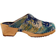 Cape Clogs Flower Pattern Leather Clogs - A330489