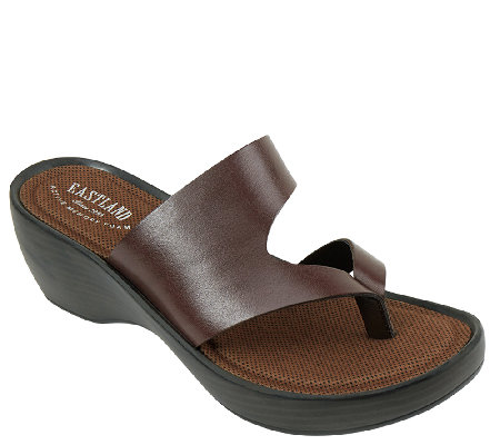 Eastland Leather Wedge Sandals Laurel Qvc Com