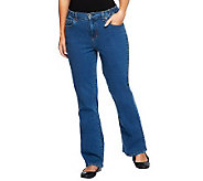 Denim & Co. Petite Classic Waist Rain Wash Stretch Denim 5 Pocket Jeans - A72889
