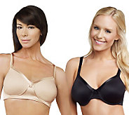 Breezies Set of 2 Microfiber Bras with Satin Trim and UltimAir - A215590