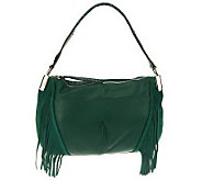 B. Makowsky Pebble Leather Zip Top E/W Shoulder Bag w/Fringe Detail - A225990