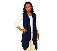 George Simonton Crystal Knit Cascade Front Asymmetrical Vest - A226290