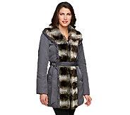 Dennis Basso Water Resistant Coat w/Faux Chinchilla Fur Trim - A229290
