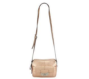 B. Makowsky Pebble Leather Double Zip-Top Adjustable Crossbody Bag