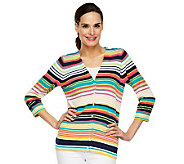 Liz Claiborne New York 3/4 Sleeve V-Neck Striped Cardigan - A231490