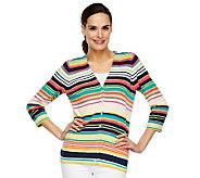 Liz Claiborne New York 3/4 Sleeve V-Neck Striped Cardigan - A231490