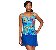 Silver by Gottex Blue Paradise Tankini w/ Faux Wrap Skirtini - A234090