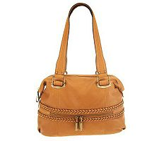 B.Makowsky Glove Leather Large Satchel with Braided Accents