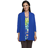 Susan Graver Liquid Knit Cardigan & Printed Tank Set - A234990