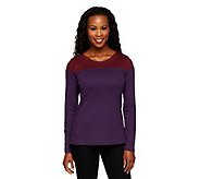 Liz Claiborne New York Long Sleeve Color-Block Knit Top - A235290