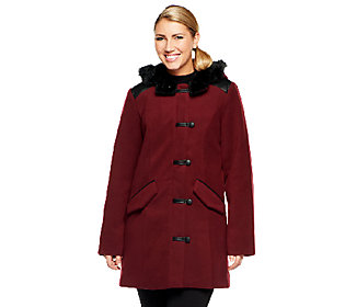 Product image of Dennis Basso Faux Wool Toggle Front Coat with Faux Leather Trim