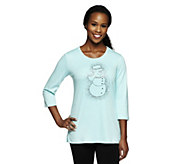 Quacker Factory Jack Frost Scoopneck 3/4 Sleeve T-shirt - A237790