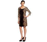 Isaac Mizrahi Live! Animal Print Knit Velvet Dress - A238090