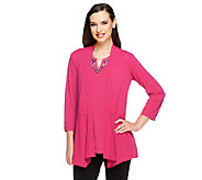 Susan Graver Liquid Knit Cardigan and Embellished Tank Set - A251390