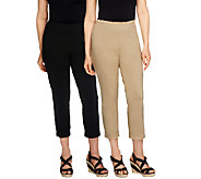 Women with Control Petite Set of 2 Straight Leg Knit Crop Pants - A252190